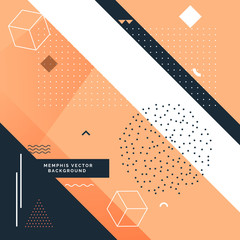 stylish memphis background with abstract shapes