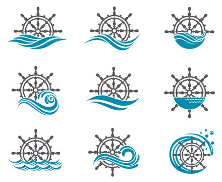 collection of yacht helm wheel image with sea waves
