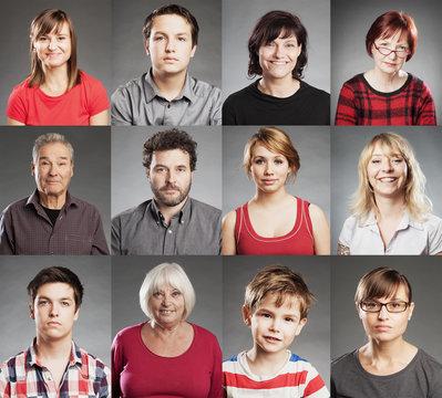 Gruppe von Menschen, Porträt Collage aus zwölf einzelnen Bildern