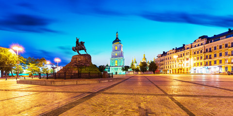 Evening scenery of Sofia Square in Kyiv, Ukraine