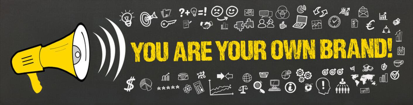 You are your own brand! / Megafon mit Symbole