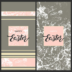 set with two easter pretty postcards with grunge texture pink lines and hand drawn words happy easter in square frames