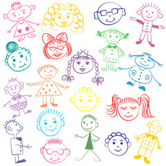 Set of Colorful Cute Kids. Funny Children Drawings. Sketch style. Vector illustration.