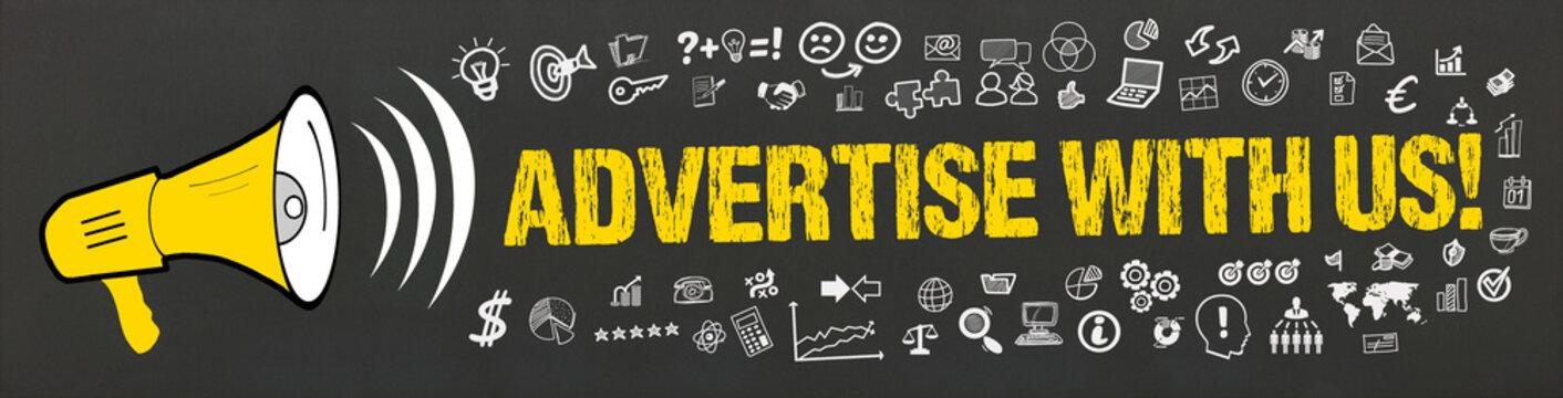 Advertise with Us! / Megafon mit Symbole
