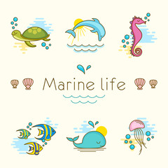 Set of vector illustrations with marine animals. Marine life.