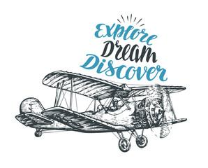 Retro biplane. Airplane sketch. Travel vector illustration