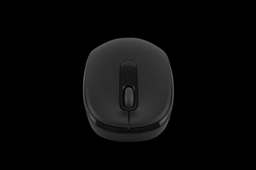 Wireless computer mouse isolated on black background - clipping paths