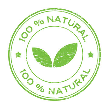 Grunge green 100 percent natural with leaf icon round rubber stamp