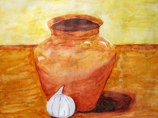 Still life a water color, the jug and garlic drawn with a brush