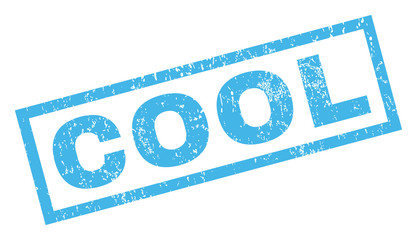 Cool text rubber seal stamp watermark. Caption inside rectangular shape with grunge design and dust texture. Inclined vector blue ink sign on a white background.