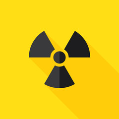 Radiation Hazard Flat Long Shadow Icon