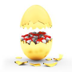 Broken golden Easter egg with gift boxes inside isolated on white. 3D illustration
