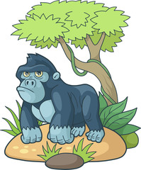 cartoon gorilla walking through the jungle