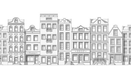Seamless thin line cityscape background with classic houses