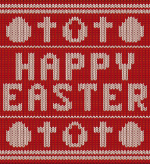 Happy easter knitting pattern with cross and egg, vector illustration