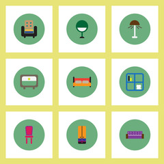 Collection of stylish vector icons in colorful circles Home furniture