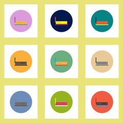 Collection of stylish vector icons in colorful circles wifi router