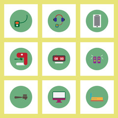 Collection of stylish vector icons in colorful circles office furniture