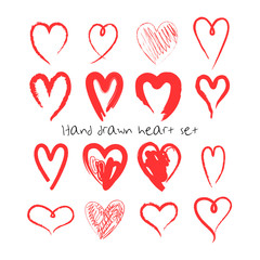 Hand drawn hearts set. Valentine's Day vector illustration. Template for greeting cards, logo element.