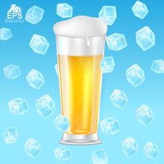 Realistic mock up glass of beer with foam among flying ice cubes on blue background