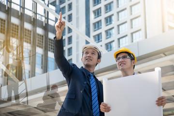 businessman worker handshaking on construction site