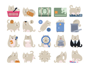 Business Finance Cat Icon Set White