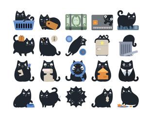 Business Finance Cat Icon Set Black