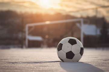 Soccer sunset at winter