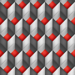 Volume realistic vector texture, diamonds, geometric pattern, gray cubes with red bottom