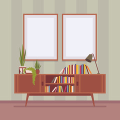 Retro interior with two frames for copyspace