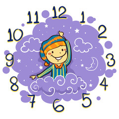 Vector Illustration of Kid using his arm as Hand Clock for Bedtime