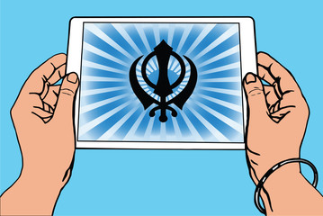 Hands holding a tablet on which the Khanda is the symbol of Sikhism. Gradient blue rays, blue background.