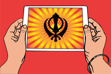 Hands holding a tablet on which the Khanda is the symbol of Sikhism. Red and gold gradient rays, red background.