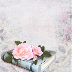 Pink roses, photo album on romantic vintage background