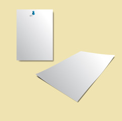 White sheet of paper, Realistic vector background