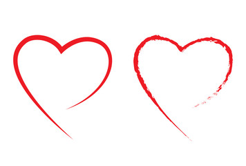 2 red heart shape vector