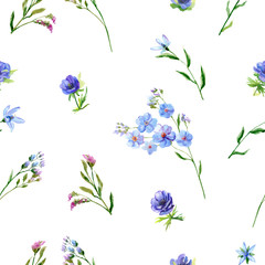 Floral square seamless pattern with pink and blue flowers, green twigs, buds, leaves on white background, hand draw watercolor painting, botanical illustration, vintage