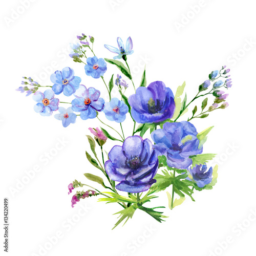 Bouquet of blue flowers anemone and forget me not stems and bouquet of blue flowers anemone and forget me not stems and leaves ccuart Image collections