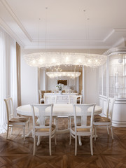 Luxury classic interior of dining room and living room with whit