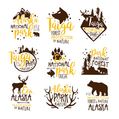Alaska National Park Promo Signs Series Of Colorful Vector Design Templates With Wilderness Elements Silhouettes