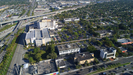 Aerial image of a hospital