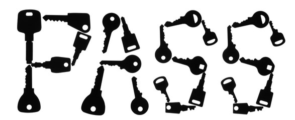 Set of keys form the word PASS. Isolated on white background. With copy space text.