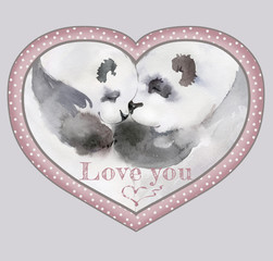"""Couple of kissing pandas in heart shaped frame with the sign """"Love you"""". Watercolor painting. Hand drown. Square. Can be used for Valentine greeting card children's book illustration."""