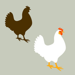 chicken vector illustration style Flat black silhouette