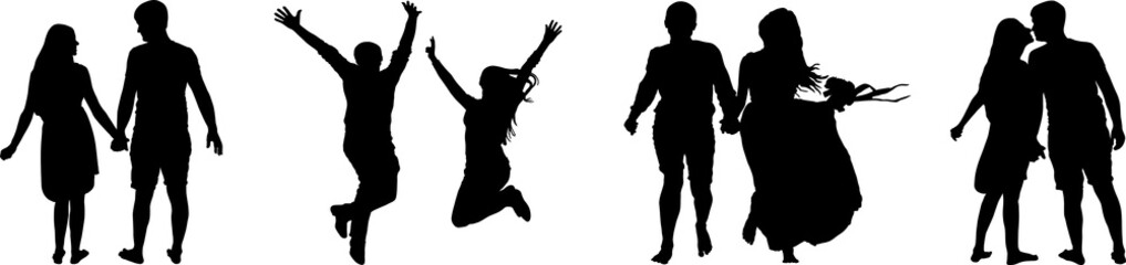 Vector silhouette of couple on white background. Man and woman isolated.