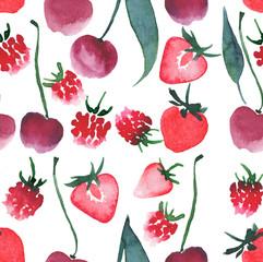 Beautiful berries cherry raspberry strawberry pattern