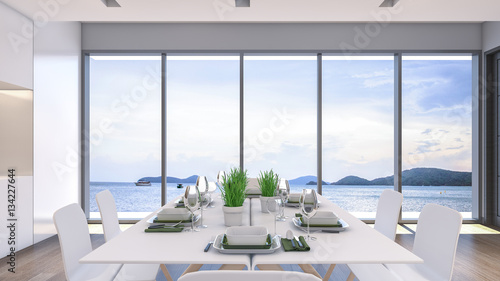 Sea view dining room 3d rendering zdj stockowych i for Dining room 3d view