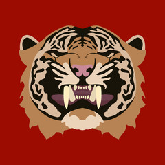 Tiger face  vector illustration style Flat