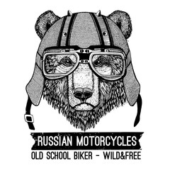 Vintage Image of BEAR for t-shirt design for motorcycle, bike, motorbike, scooter club, aero club
