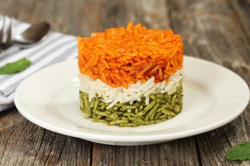 Tricolor Tiranga Rice for indian Republic and Independence day